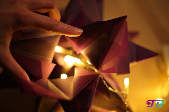DIY Bascetta Stern LED Lichterkette in den Stern geben