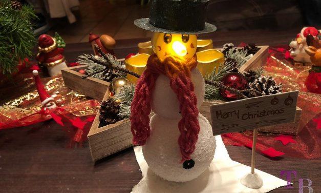 DIY Schneemann aus Styroporkugeln mit LED-Teelicht – Geschenkidee zu Weihnachten