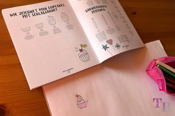 Jills Welt Zeichnen mit Jill Buch Cupcake fertig