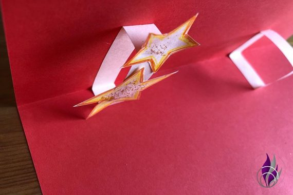 3D Popup Karte Weihnachten Rechteck Sterne