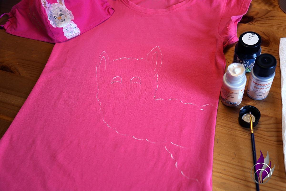 fun4family Alpaka Shirt DIY Umriss nachzeichnen