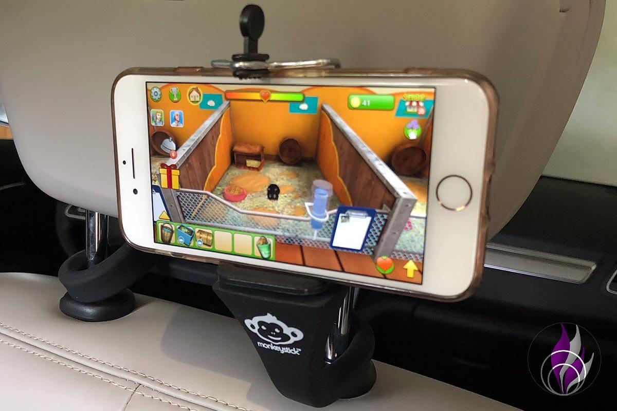 fun4family monkeystick flexibler Selfiestick Autofahrt Kopfstütze