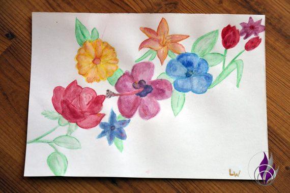 fun4family Aquarell-Farben Bild Blumen