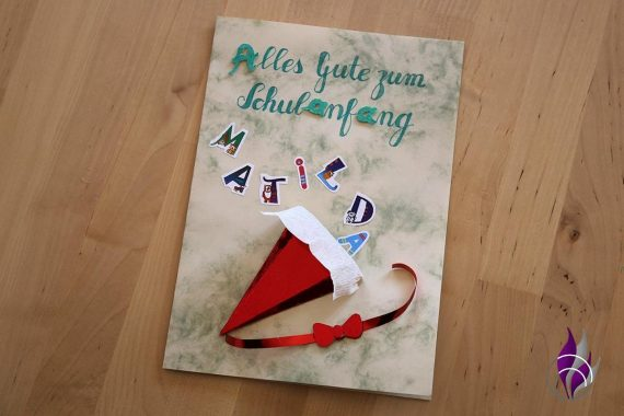 fun4family 3D Schulanfangskarte Einschulungskarte Holo-Zuckertüte
