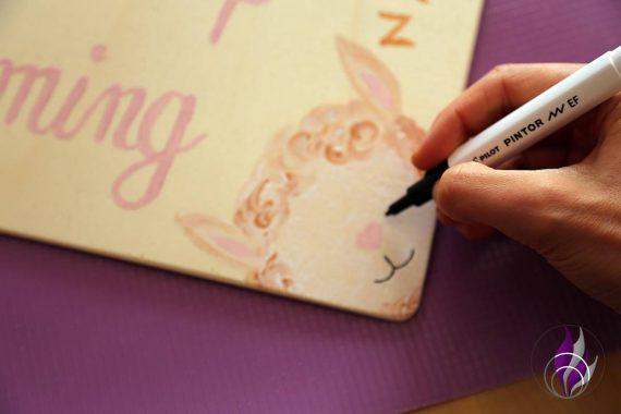 fun4family DIY Nacht Leuchtbild Alpaka Gesicht PINTOR Marker