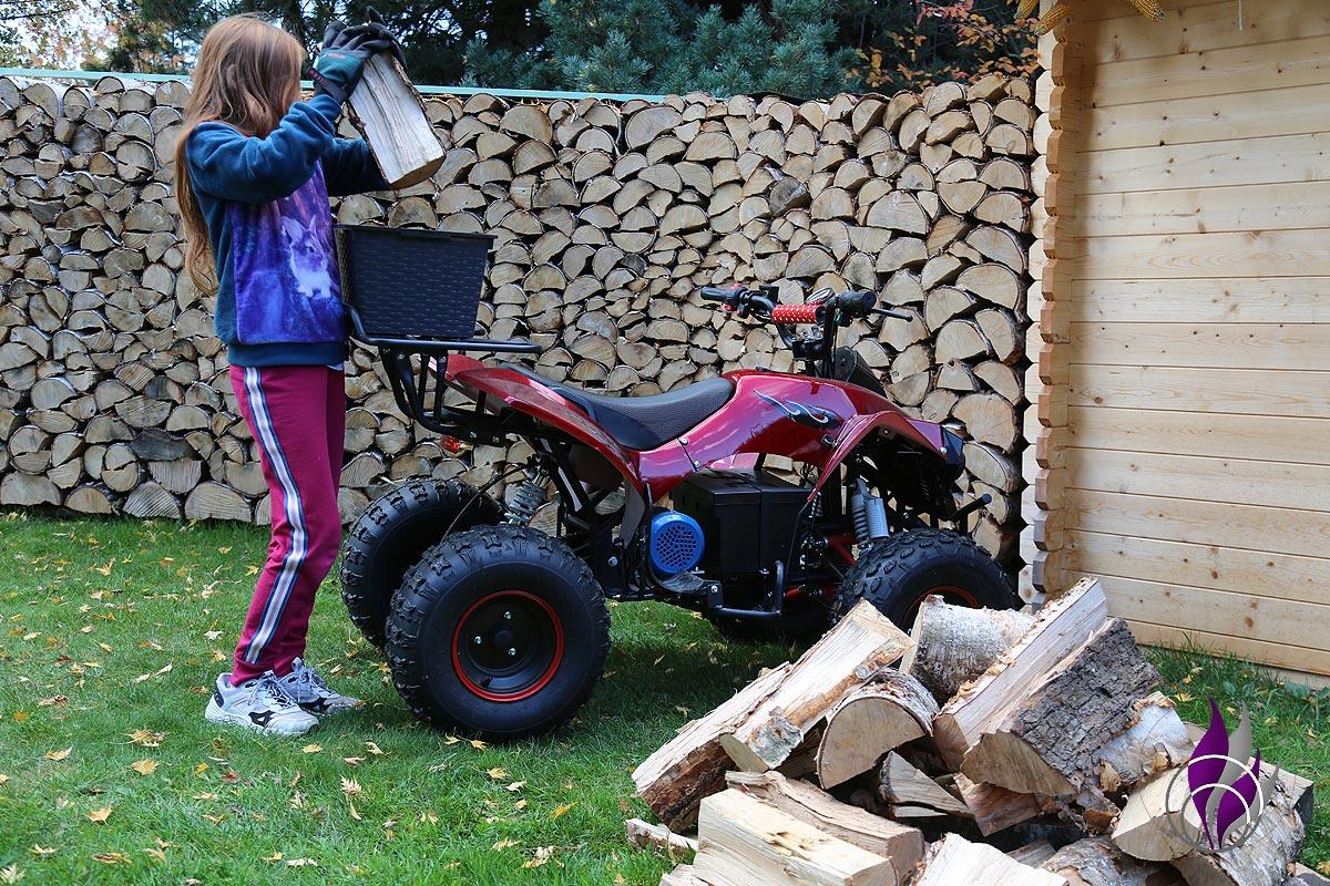 fun4family Kinderquad Gartenarbeit Holz transportieren