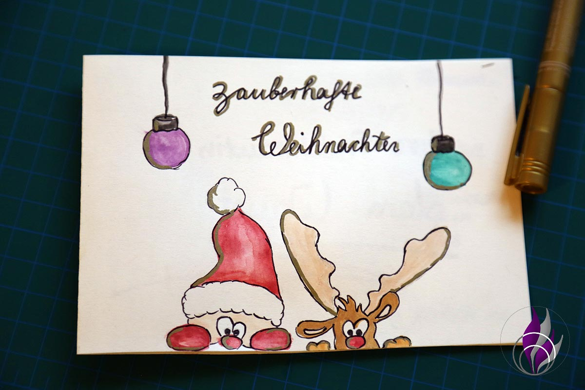 fun4family xmas DIY Weihnachtskarte Aquarell Handlettering