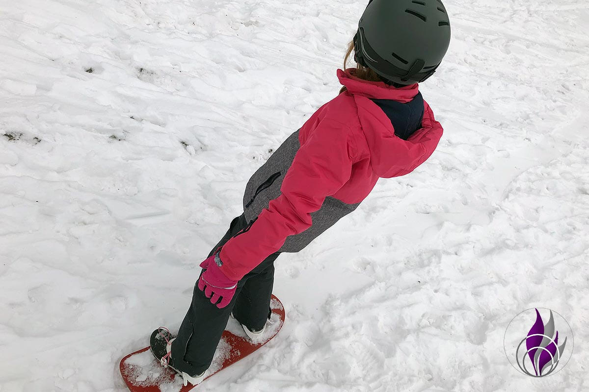 fun4family DIY Snowboard erste Fahrversuche Bindung