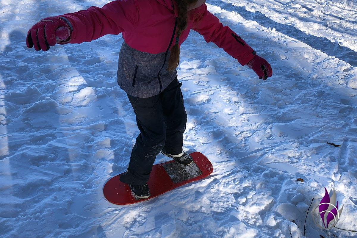fun4family DIY Snowboard erste Fahrversuche