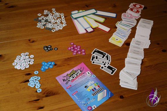 fun4family Krazy Wordz Partyspiel Ravensburger Spiel Material