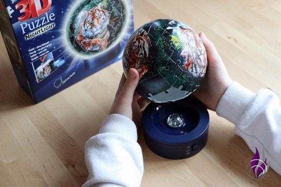fun4family 3D Puzzleball Nachtlicht Raubkatzen Leuchtsockel