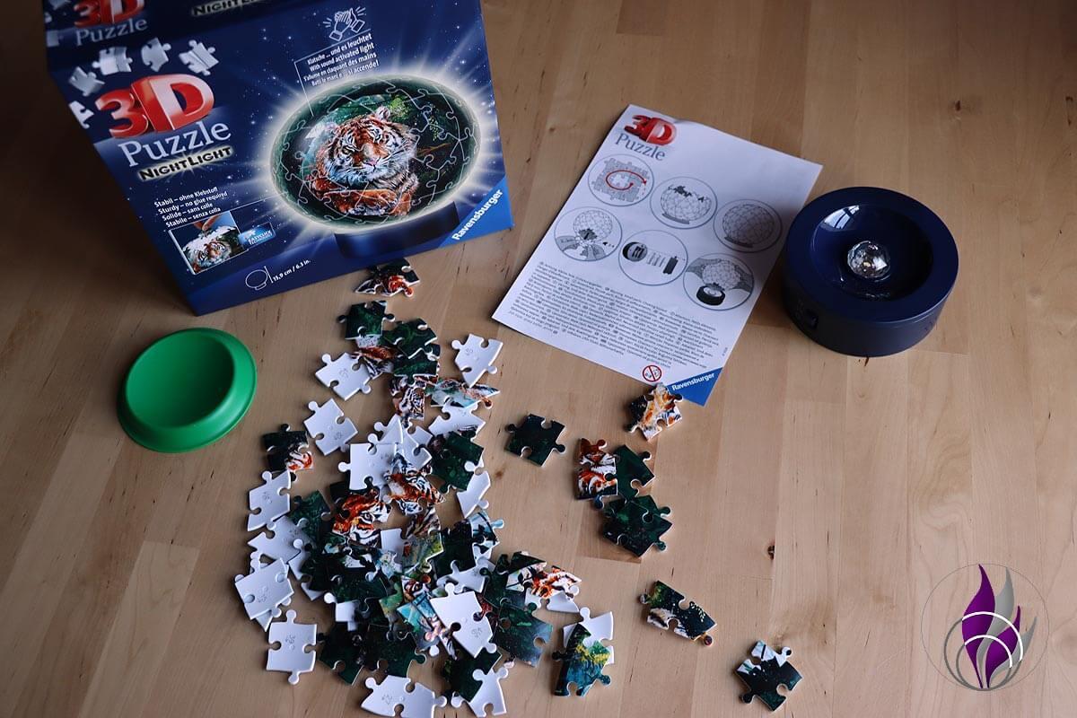 fun4family 3D Puzzleball Nachtlicht Raubkatzen Inhalt