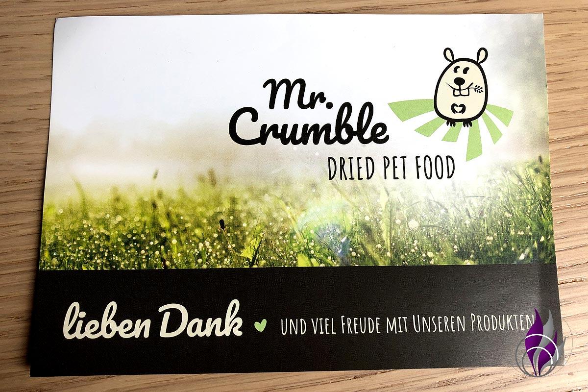 fun4family Onlineshop Tierfutter Tierbedarf Mr. Crumble Karte