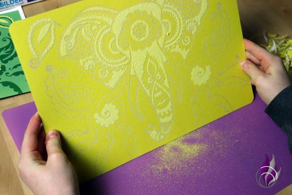 fun4family Sandart Sandmalerei Sandbild Sand abschütteln