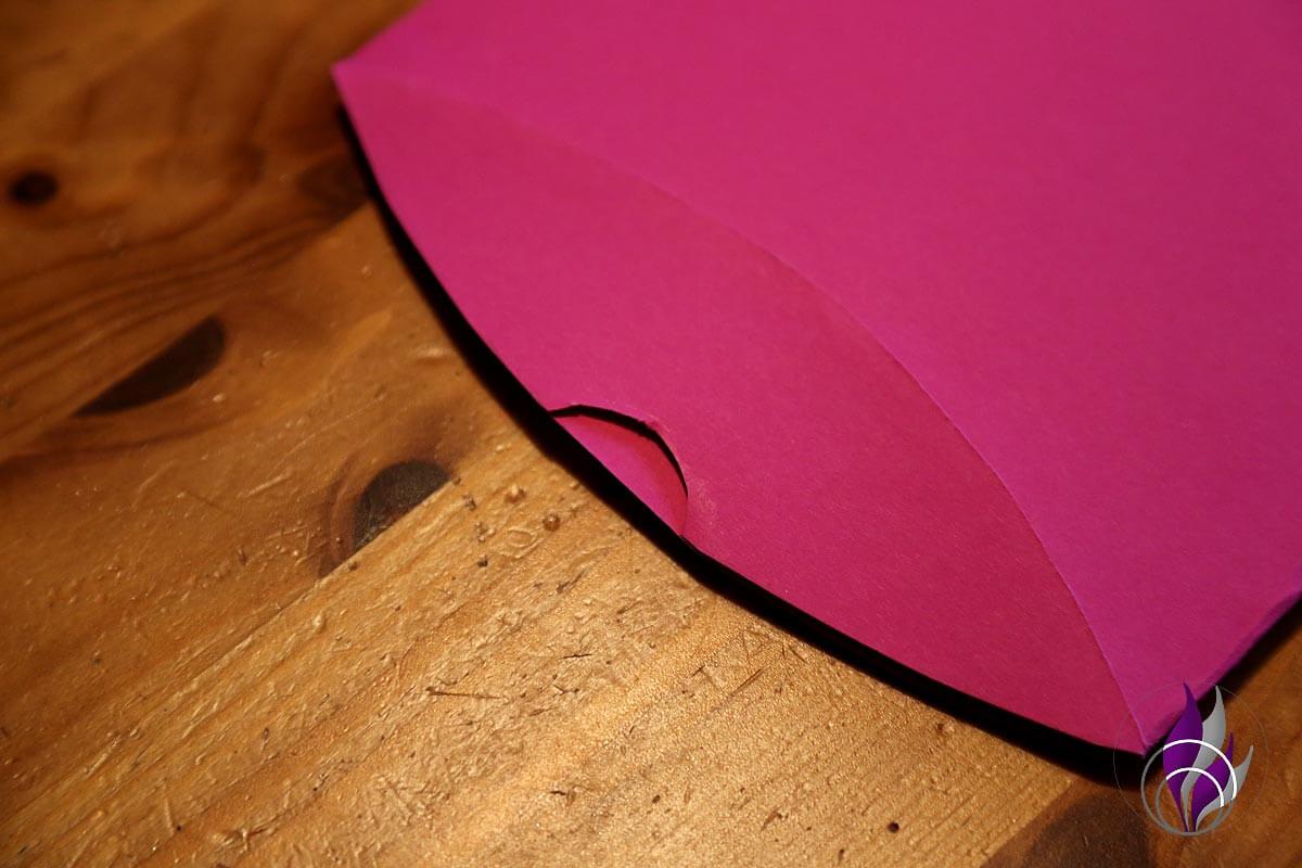 Kissen Faltschachtel Pillow Box Seitenlasche Auschnitt